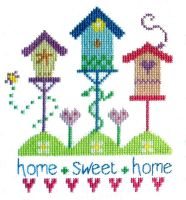 Bird Houses Cross Stitch - Home Sweet Home