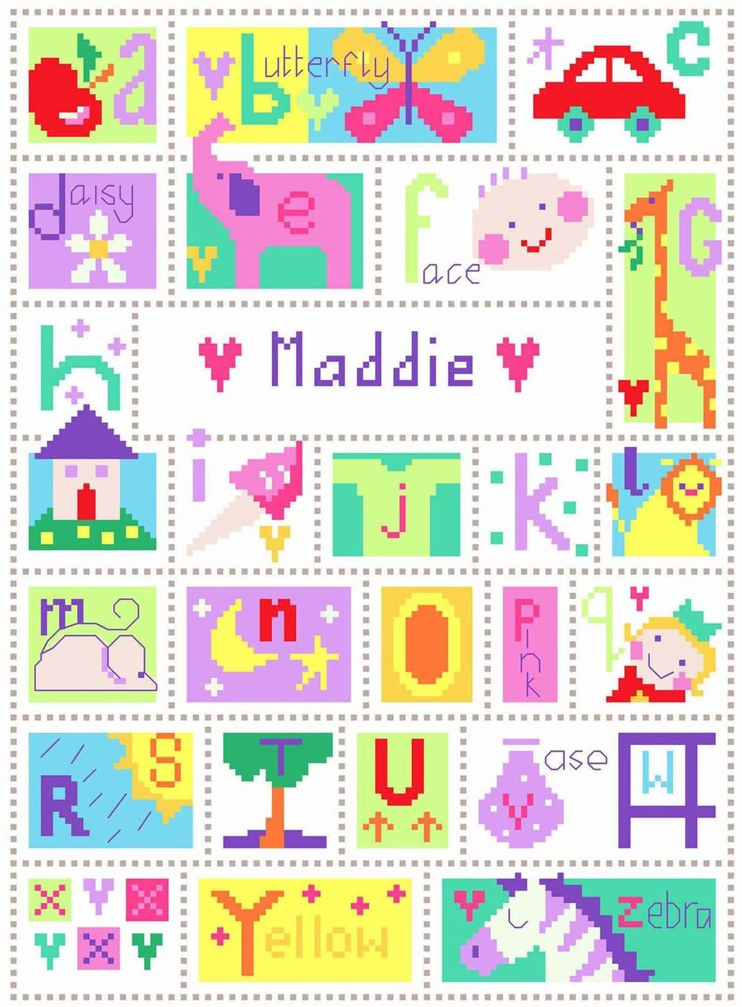 Name - Alphabet Sampler Cross Stitch Sampler