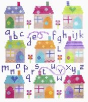 Village ABC Sampler Cross Stitch