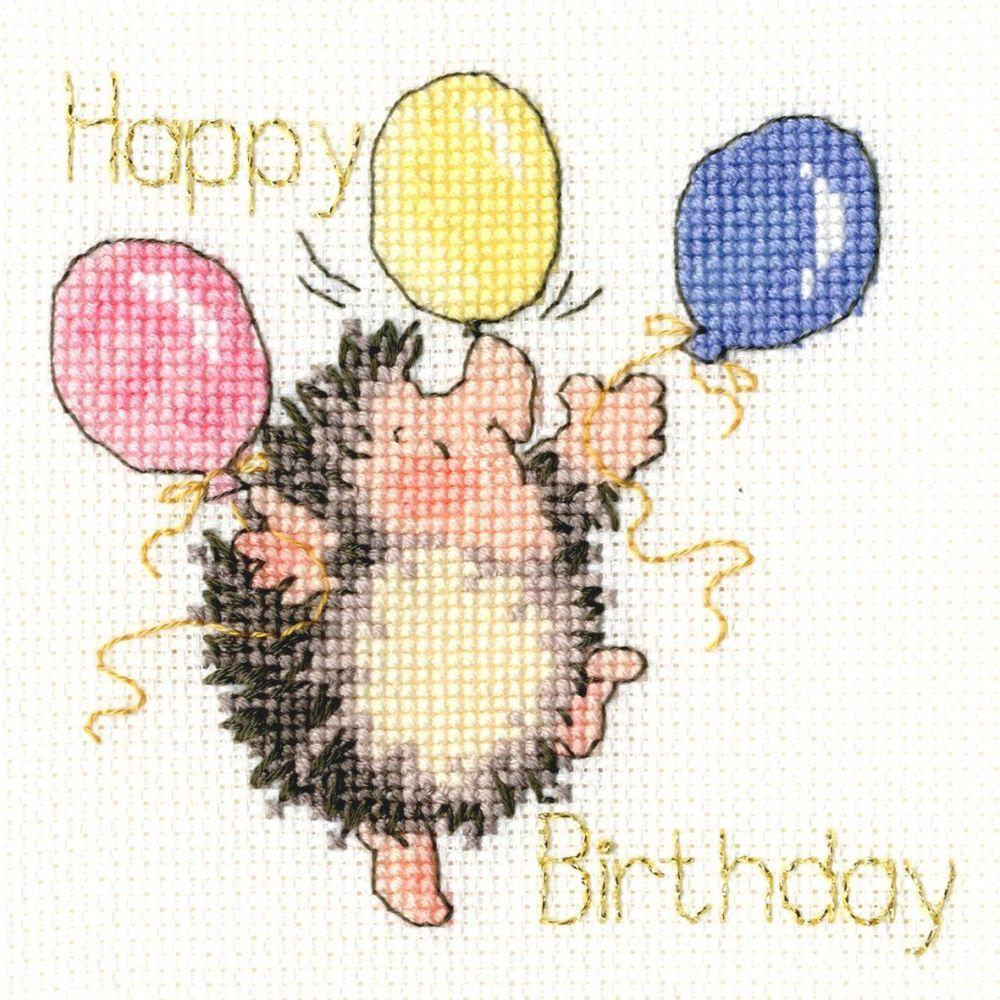 Birthday Balloons Birthday Cross Stitch Card