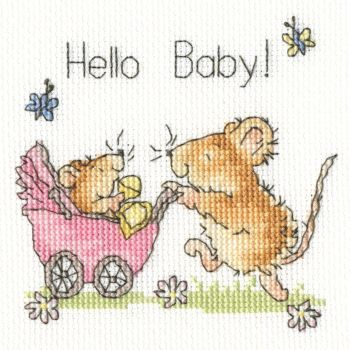 Hello Baby Cross Stitch Card (Blue or Pink Design)