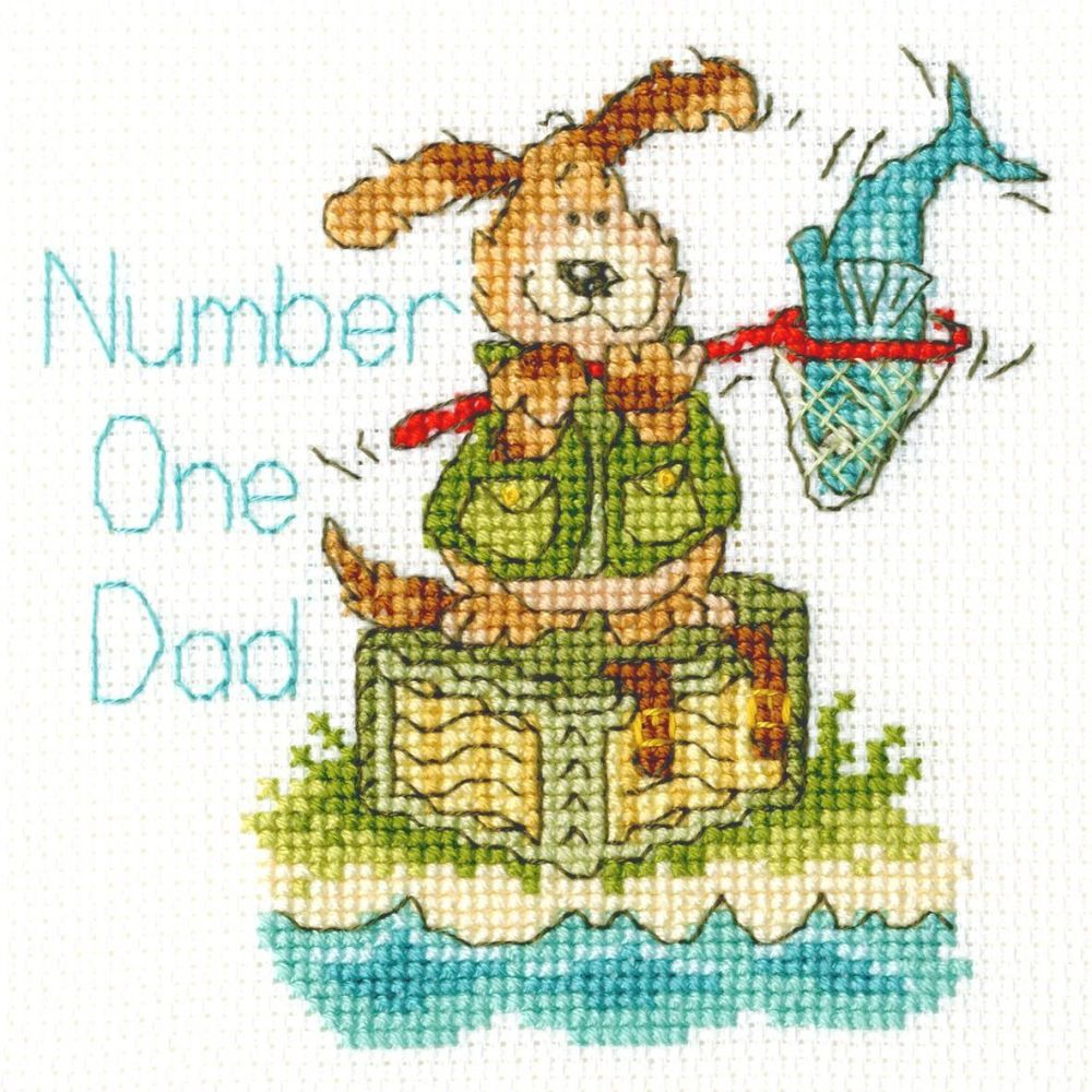 Number 1 Dad (Birthday/Father's Day) Cross Stitch Card