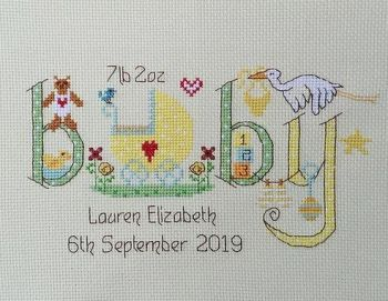 Baby Sampler - Neutral Colours - Nia Cross Stitch