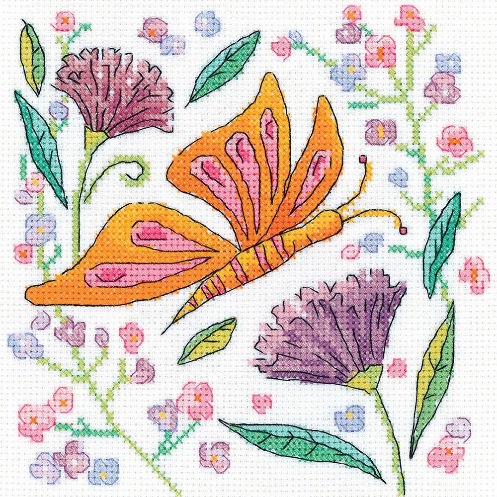Orange Butterfly Cross Stitch Kit - Heritage Crafts