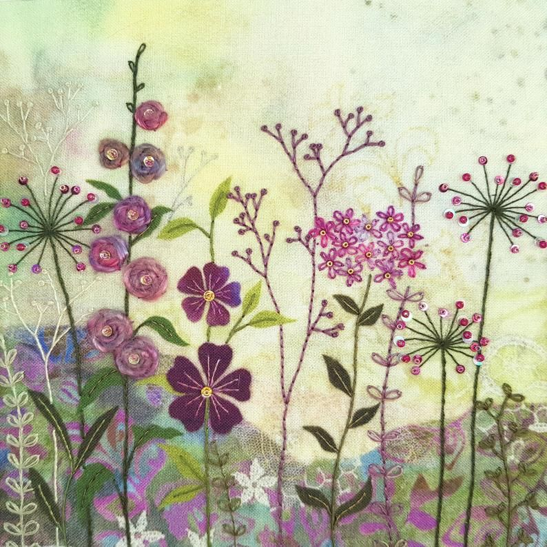 Purple Garden Embroidery - Beaks and Bobbins