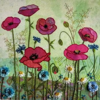 Poppy Meadow Embroidery - Beaks and Bobbins