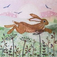 Leaping Hare Embroidery - Beaks and Bobbins