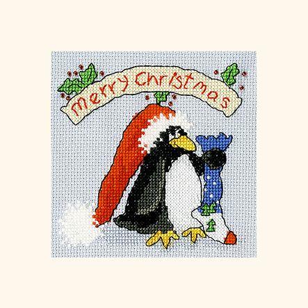 Please Santa Penguin Christmas Card