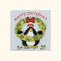 Prickly Holly Penguin Christmas Card