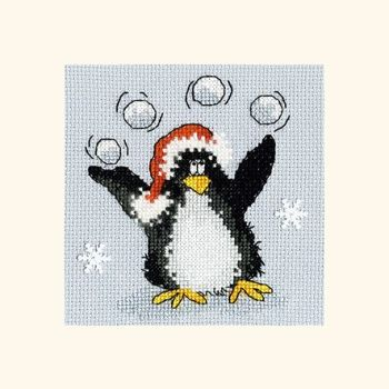 Playing Snowballs Penguin Christmas Card