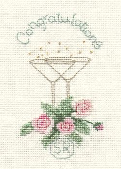 Rose and Champagne Cross Stitch Card Kit (Wedding)