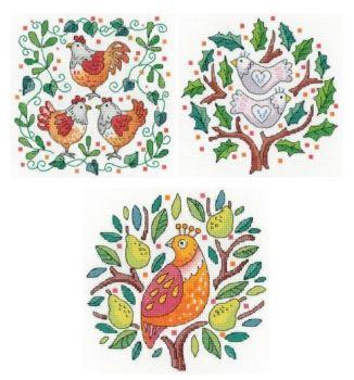 Set of Three - Partridge in a Pear Tree Cross Stitch