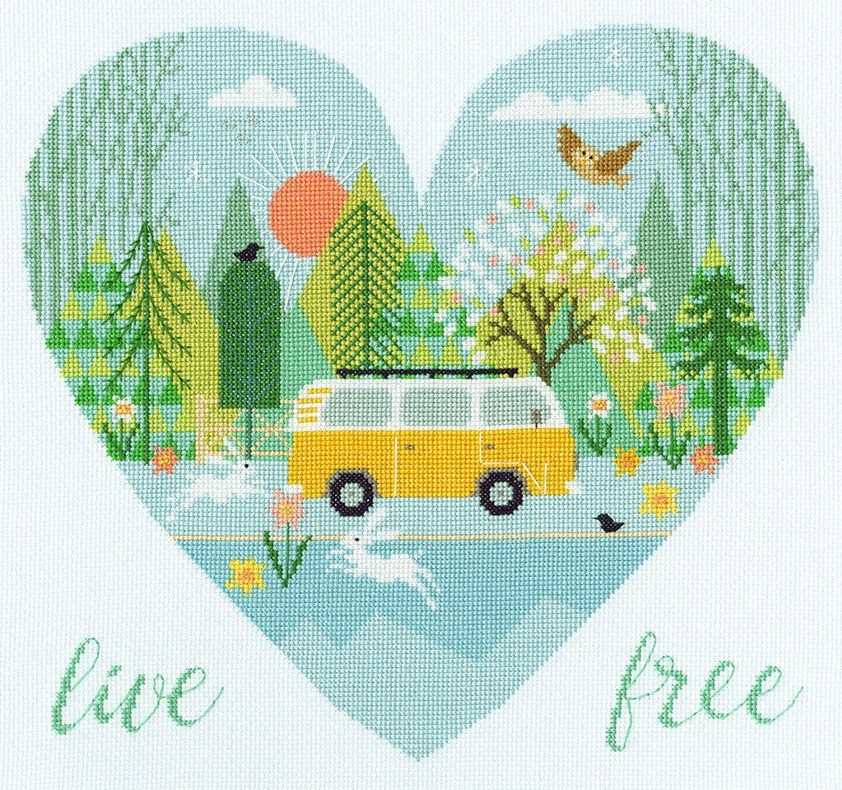 Live Free Camper Van Cross Stitch - Bothy Threads