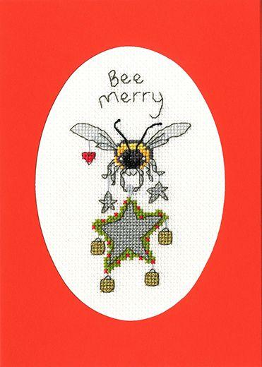 Bee Merry Cross Stitch Card - Bothy Threads