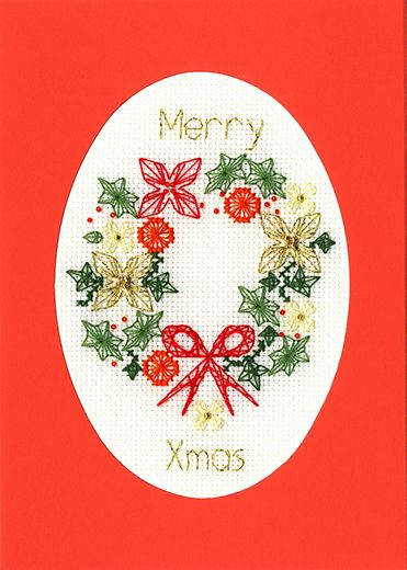 Christmas Wreath Cross Stitch Card