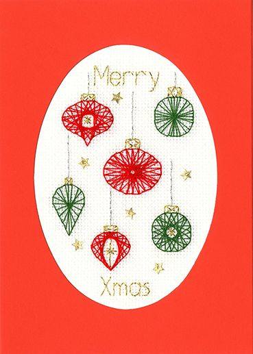 Christmas Baubles Cross Stitch Card