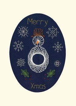 Christmas Snowman Cross Stitch Card