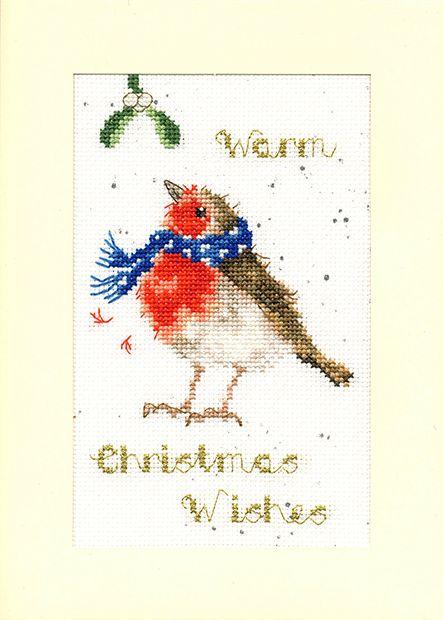 Warm Wishes Robin Christmas Cross Stitch Card