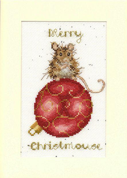 Merry Christmouse Christmas Cross Stitch Card