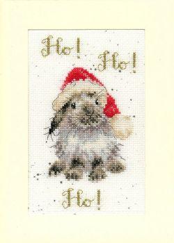 Ho! Ho! Ho! Rabbit Christmas Cross Stitch Card