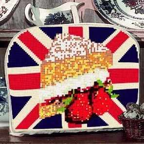 Teacosy Tapestry - Afternoon Tea - (stitched both sides)