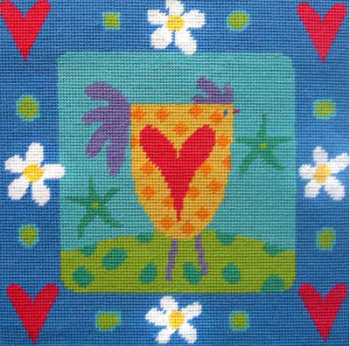 Chicken and Hearts Tapestry Kit