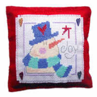 Snowman Cushion Cross Stitch