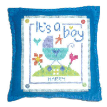 Birth Sampler - It's a Boy Cushion