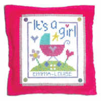 Birth Sampler - It's a Girl Cushion