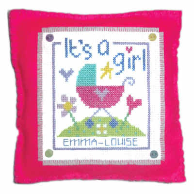Birth Sampler - It's a Girl - Cross Stitch Cushion Kit