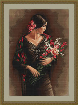 Spanish Lady with Bouquet - Petit Point Kit - Luca-S