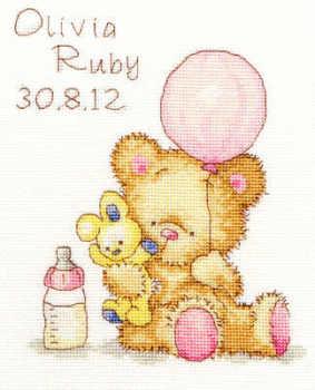 Birth Sampler -  Huggies Balloon - Bothy Threads