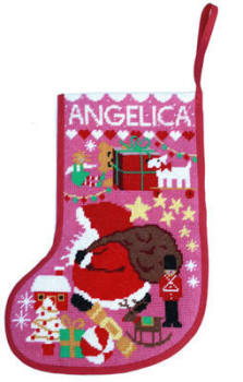 Starry Xmas Stocking Tapestry - Pink (Plain Canvas)