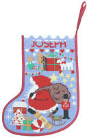 Starry Xmas Stocking - Light Blue (Plain Canvas)