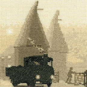 Oast Houses - Sepia Cross Stitch