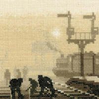 Steam Team - Sepia Cross Stitch