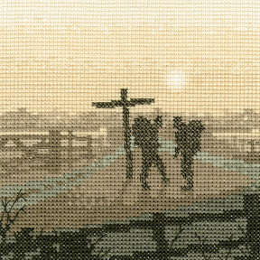 Hikers - Sepia Cross Stitch