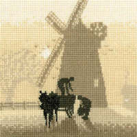 Windmill - Sepia Cross Stitch