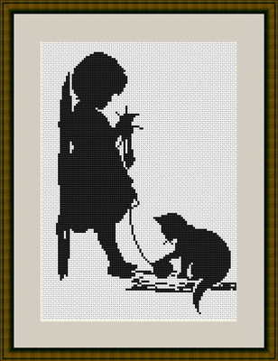 Girl with Cat - Silhouette Cross Stitch Kit