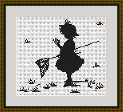 Girl with Butterfly - Silhouette Cross Stitch Kit