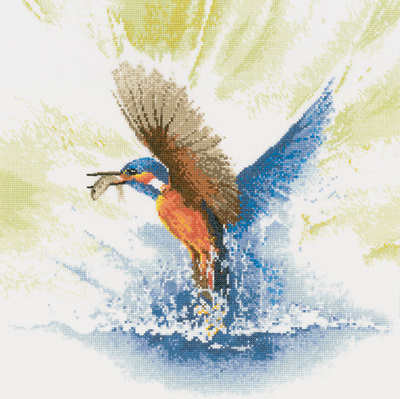 Kingfisher in Flight - John Clayton Cross Stitch