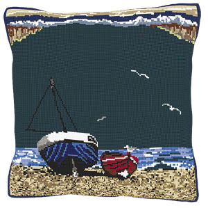 Seaside Fishing Boats Tapestry Kit