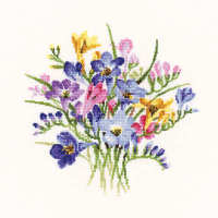 Freesia Posy - Valerie Pfeiffer Floral Cross Stitch