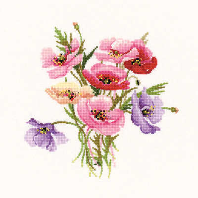 Poppy Posy - Valerie Pfeiffer Floral Cross Stitch