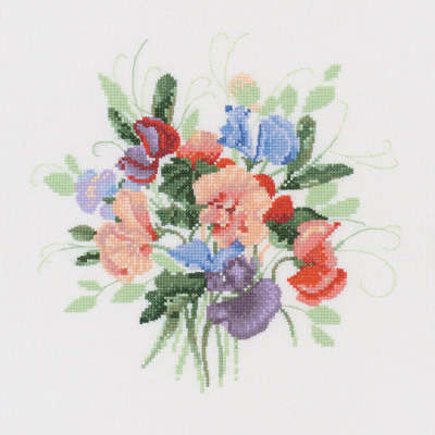 Sweet Pea Posy - Valerie Pfeiffer Floral Cross Stitch