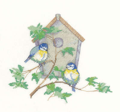 Nesting Box -  Bluetits - Sue Hill Cross Stitch