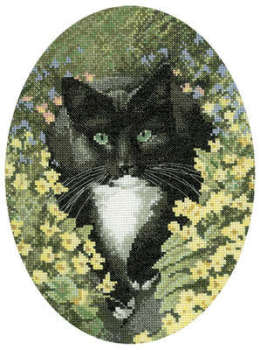 Black and White Cat Cross Stitch  - John Stubbs