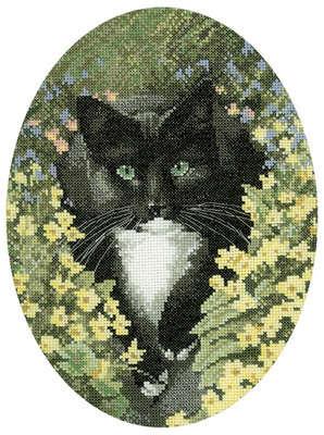 Black and White Cat Cross Stitch  - John Stubbs