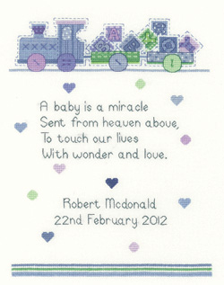 Baby Boy Cross Stitch Sampler - Sue Hill