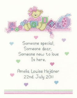 Baby Girl Cross Stitch Sampler - Sue Hill